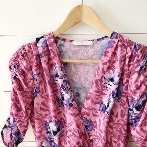 Wayf Dresses - WAYF Pink Floral Romantic Midi Wrap Front Dress